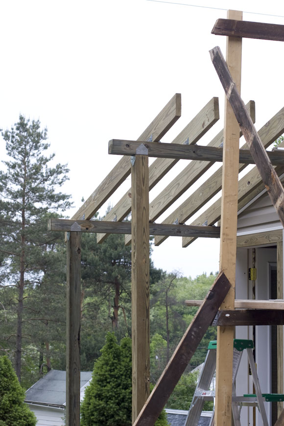 Porch roof frame
